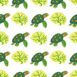 Seamless pattern with tropical turtle and coral. Vector illustration stock illustration
