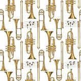 Seamless Pattern. Trumpets, Trombones and Notes. Seamless Vector Pattern. Brass Trumpets and Trombones and Notes on a White Background Stock Image