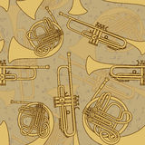 Seamless pattern of trumpets Royalty Free Stock Photos