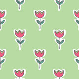 Seamless pattern of tulip flowers Royalty Free Stock Photography