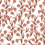Seamless pattern of tulip flowers on a white background.  Retro style. Monochrome vector illustration