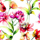 Seamless pattern with Tulip and Peony flowers Royalty Free Stock Photos