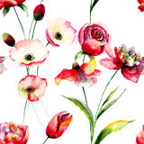 Seamless pattern with Tulip and Poppy flowers Stock Photo