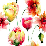 Seamless pattern with Tulip and Poppy flowers Royalty Free Stock Images