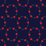 Seamless pattern with tulips on the dark blue background Stock Photos