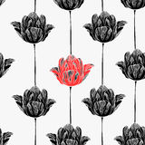 Seamless pattern with tulips. Royalty Free Stock Images