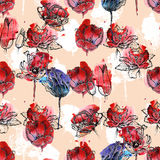 Seamless pattern tulips. Seamless floral pattern, tulips hand drawn on blue and red watercolor splash. Isolated on coral pink background. Fabric texture Royalty Free Stock Photography
