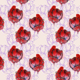 Seamless pattern tulips. Seamless floral pattern, hand made watercolor and graphic tulips with 3D effect, red and purple.  on beige background. Fabric texture Stock Photography