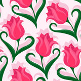 Seamless pattern with tulips flowers. Beautiful floral background with tulips flowers. Colorful vector illustration vector illustration