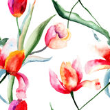 Seamless pattern with Tulips flowers Stock Photo