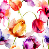 Seamless pattern with Tulips flowers Stock Photography