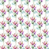 Seamless pattern with Tulips flowers. Watercolor illustration Royalty Free Stock Image