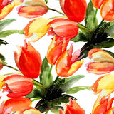 Seamless pattern with Tulips flowers. Watercolor painting Stock Image