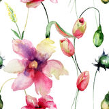 Seamless pattern with Tulips flowers. Watercolor painting Stock Photography