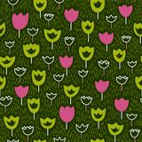 Seamless pattern with tulips and grass. Vector backdrop. Bright pattern. Use for wallpaper, pattern fills, web page background Stock Images