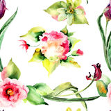 Seamless pattern Tulips and Hydrangea flowers Royalty Free Stock Image
