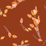 Seamless pattern of tulips with orange flowers on a deep red background. Watercolor. Spring flowers of can be used textiles, wallpaper, abstract botany print Stock Photo