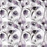 Seamless pattern with Tulips and Peony flowers Stock Photos