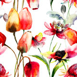 Seamless pattern with Tulips and Peony flowers Stock Photography