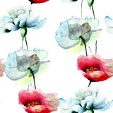 Seamless pattern with Tulips and Peony flowers Royalty Free Stock Photos