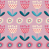 Seamless pattern with tulips on the pink backgroun Stock Image