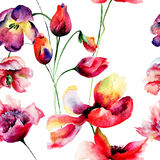 Seamless pattern with Tulips and Poppy flowers Stock Photography