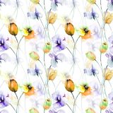 Seamless pattern with Tulips, Poppy and Sweet pea flowers. Watercolor illustration Stock Photo