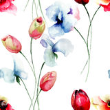 Seamless pattern with Tulips, Poppy and Sweet pea flowers Royalty Free Stock Photography