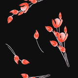 Seamless pattern of tulips with red flowers on the black background. Watercolor stock photography