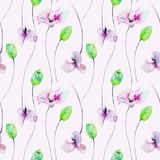 Seamless pattern with Tulips and Sweet pea flowers. Watercolor illustration Royalty Free Stock Photo
