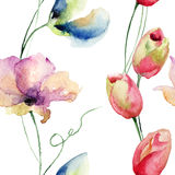Seamless pattern with Tulips and Sweet pea flowers Royalty Free Stock Photography