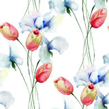 Seamless pattern with Tulips and Sweet pea flowers Stock Photo