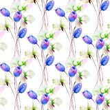 Seamless pattern with Tulips and Sweet pea flowers. Watercolor illustration Royalty Free Stock Image