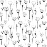 Seamless pattern with tulips, vintage, grunge background. Perfect for print on fabric, wrapping paper etc. royalty free illustration