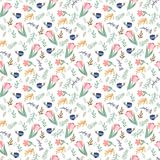 Seamless pattern with tulips and wild flowers Stock Images