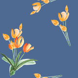 Seamless pattern of tulips with yellow flowers on a blue background. Watercolor royalty free stock photos