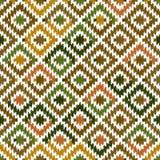 Seamless pattern Turkish carpet beige orange khaki brown. Patchwork mosaic oriental kilim rug with traditional folk geometric. Ornament. Tribal style. Vector royalty free illustration