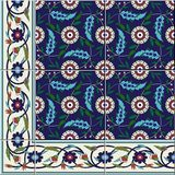 Seamless  pattern. Turkish, Moroccan, Portuguese  Azulejo tiles and border, ornaments. Gorgeous seamless  pattern from dark blue and white floral Turkish Royalty Free Stock Images