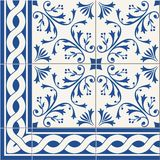Seamless  pattern. Turkish, Moroccan, Portuguese  Azulejo tiles and border, ornaments. Gorgeous seamless  pattern from dark blue and white floral Turkish Stock Photos