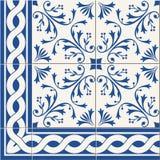 seamless  pattern. Turkish, Moroccan, Portuguese  Azulejo tiles and border, ornaments. Stock Photos