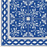Seamless  pattern. Turkish, Moroccan, Portuguese  Azulejo tiles and border, ornaments. Gorgeous seamless  pattern from dark blue and white floral Turkish Stock Images