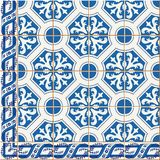 Seamless  pattern. Turkish, Moroccan, Portuguese  Azulejo tiles and border, ornaments. Gorgeous seamless  pattern from dark blue and white floral Turkish Stock Photo