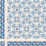 Seamless  pattern. Turkish, Moroccan, Portuguese  Azulejo tiles and border, ornaments. Gorgeous seamless  pattern from dark blue and white floral Turkish Royalty Free Stock Image