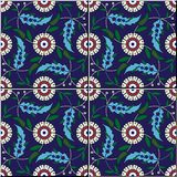 Seamless  pattern .  Turkish, Moroccan, Portuguese  tiles, Azulejo, ornaments.  Islamic Art. Gorgeous seamless  pattern from dark blue and white floral Turkish Royalty Free Stock Images