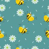 Seamless pattern with turquoise bees with flowers and petals. Vector background royalty free illustration