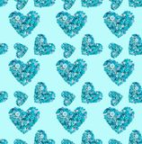 Seamless pattern of turquoise heart made of buttons stock illustration