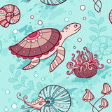 Seamless pattern with turtle and nautilus Stock Image