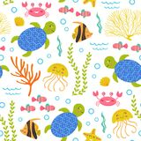 Seamless pattern with turtle and other marine animals. Vector illustration, eps Royalty Free Stock Photography