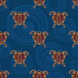 Seamless pattern of turtles. Australian art. Seamless pattern of turtles with abstract circles on background. Australian art. Aboriginal painting style. Vector stock illustration