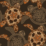 Seamless pattern with turtles. Can be used for wallpaper, pattern fills, web page background,surface textures. Seamless animal background. Indian mehendi style Royalty Free Stock Images